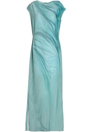 MAISON MARGIELA Draped printed silk-crepe gown