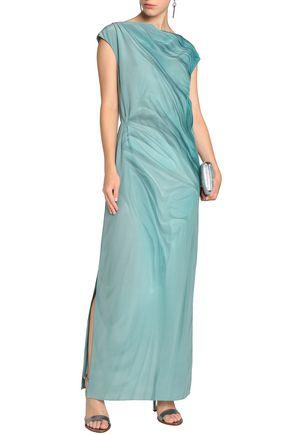 MAISON MARGIELA Draped printed silk-crepe gown