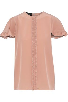 ROCHAS Pleated ruffle-trimmed silk crepe de chine blouse
