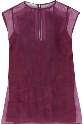 OSCAR DE LA RENTA Pintucked silk-organza top