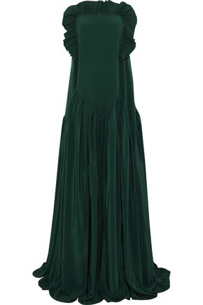 ROCHAS Strapless pleated silk crepe de chine gown