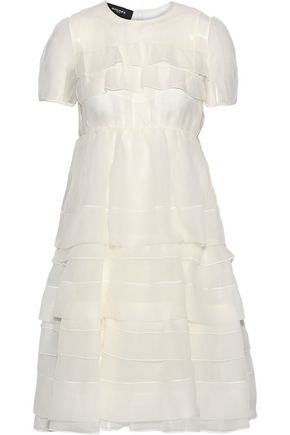 ROCHAS Tiered gathered silk-organza dress