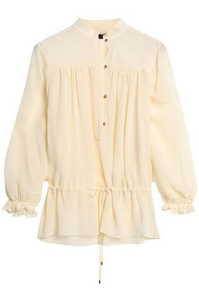 JUST CAVALLI Metallic-trimmed gauze blouse