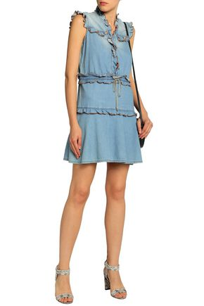 JUST CAVALLI Ruffled chambray mini dress