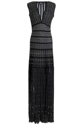 JUST CAVALLI Fringed studded jacquard-knit gown