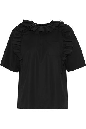 ROCHAS Mya ruffle-trimmed cotton-blend poplin blouse