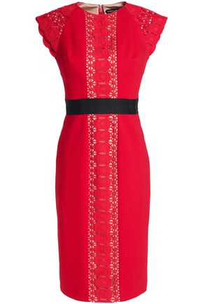 CATHERINE DEANE Guipure lace-paneled crepe dress