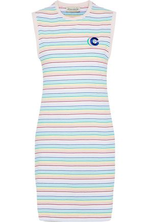 ÊTRE CÉCILE Appliquéd striped cotton-jersey dress
