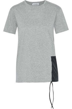 JIL SANDER Shell-appliquéd two-tone cotton-jersey T-shirt