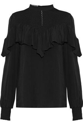BAUM UND PFERDGARTEN Marinka mesh-paneled ruffled jacquard blouse