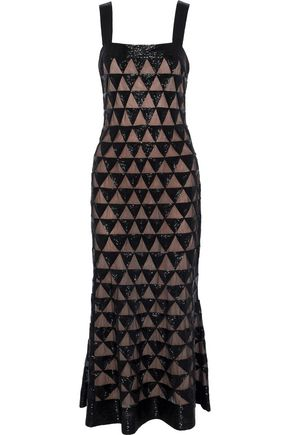 OSCAR DE LA RENTA Fluted bead-embellished tulle midi dress