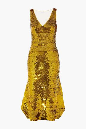 OSCAR DE LA RENTA Sequined silk-blend organza midi dress