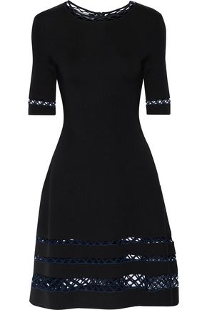 OSCAR DE LA RENTA Flared open knit-trimmed ponte dress