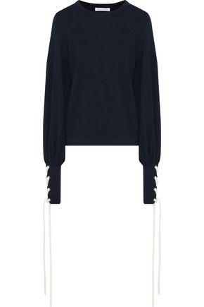 OSCAR DE LA RENTA Lace-up wool sweater