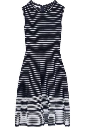 OSCAR DE LA RENTA Flared striped jacquard-knit dress