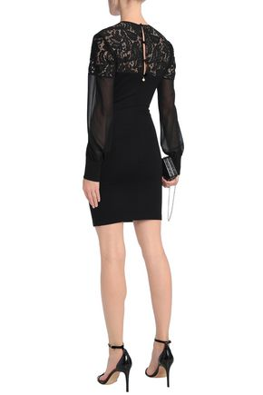 JUST CAVALLI Lace-paneled jersey mini dress