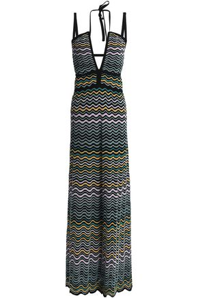 M MISSONI Crochet-knit cotton-blend halterneck maxi dress