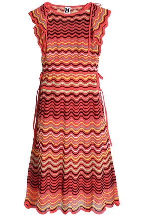M MISSONI Gathered crochet-knit cotton-blend dress