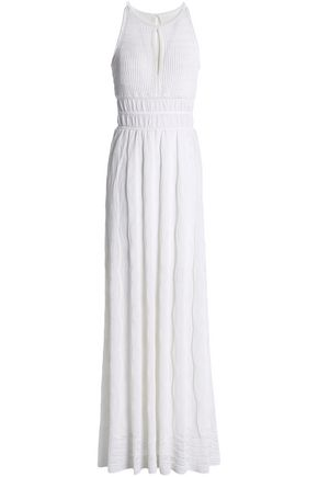 M MISSONI Cutout pleated crochet-knit cotton-blend maxi dress