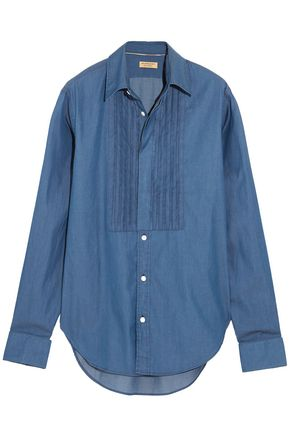 BURBERRY Pintucked cotton-chambray shirt