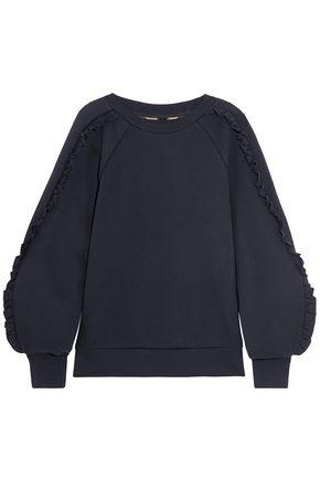 BURBERRY Ruffle-trimmed cotton-blend sweatshirt