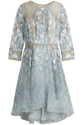 MARCHESA NOTTE Sequin-embellished metallic embroidered tulle dress
