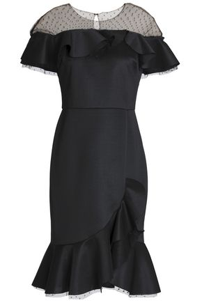 MARCHESA NOTTE Point d'epsrit-paneled ruffled ponte dress