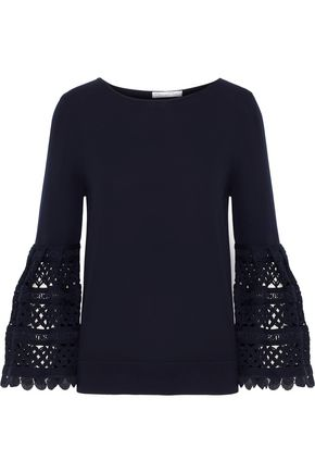 OSCAR DE LA RENTA Crochet-paneled ribbed cotton top