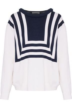 OSCAR DE LA RENTA Striped silk and cotton-blend sweater