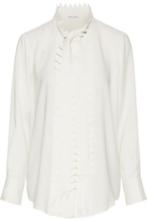 OSCAR DE LA RENTA Pinked stretch-silk crepe blouse