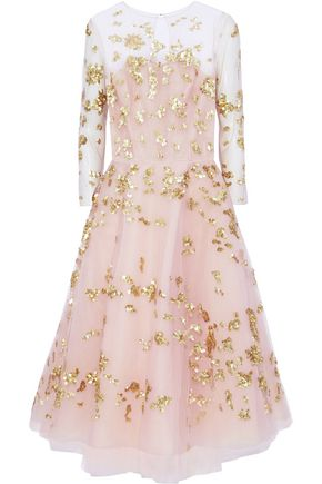 OSCAR DE LA RENTA Sequin-embellished tulle midi dress
