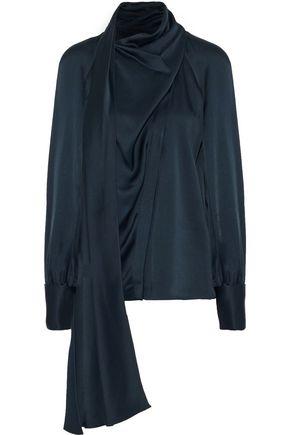 OSCAR DE LA RENTA Draped satin-crepe blouse