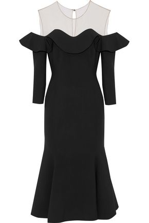 OSCAR DE LA RENTA Tulle-paneled ruffled wool-blend midi dress