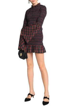 PETERSYN Shirred checked cotton mini dress
