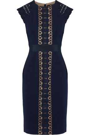 CATHERINE DEANE Guipure lace-paneled stretch-knit dress