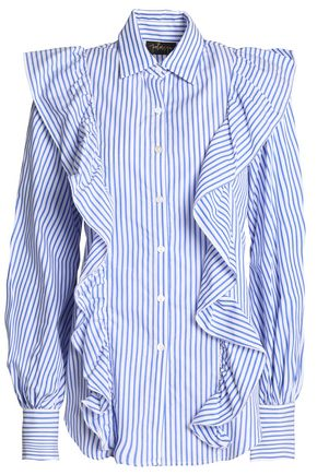 PETERSYN Ruffled striped cotton-poplin shirt