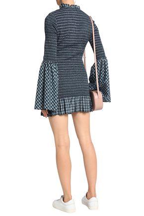 PETERSYN Shirred checked cotton mini dress