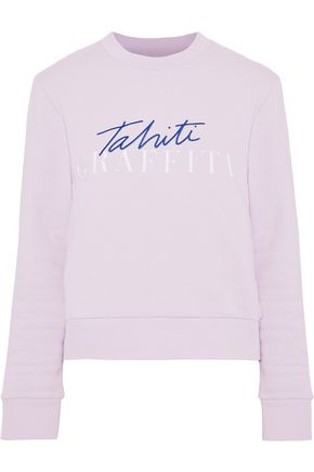 ÊTRE CÉCILE Embroidered printed cotton-fleece sweatshirt