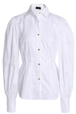 PETERSYN Pleated cotton-poplin peplum shirt