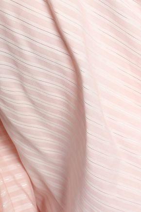 PETERSYN Off-the-shoulder striped cotton-poplin top