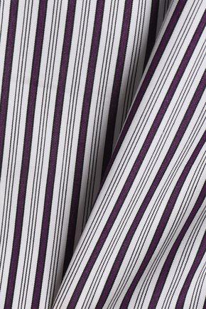 PETERSYN One-shoulder cutout striped cotton top