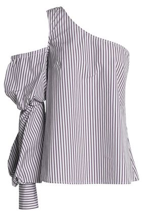 PETERSYN One-shoulder cutout striped cotton top