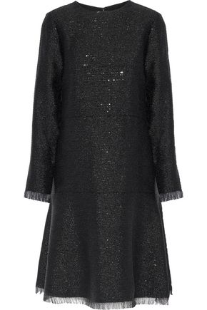 OSCAR DE LA RENTA Sequin-embellished metallic crepe dress