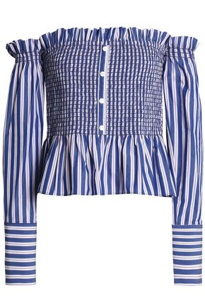PETERSYN Blaine off-the-shoulder checked cotton-poplin blouse