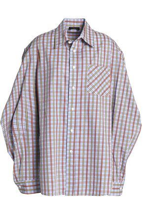 PETERSYN Cutout checked cotton-poplin shirt