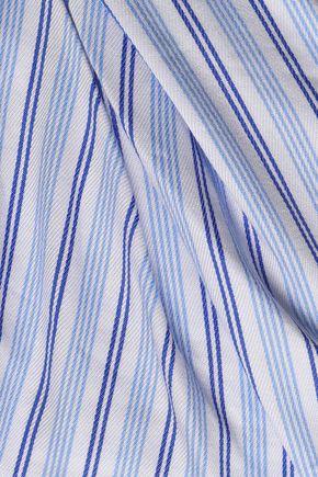 PETERSYN Off-the-shoulder cutout striped cotton-poplin mini dress