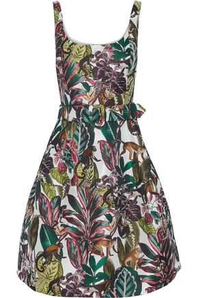 OSCAR DE LA RENTA Flared belted jacquard dress