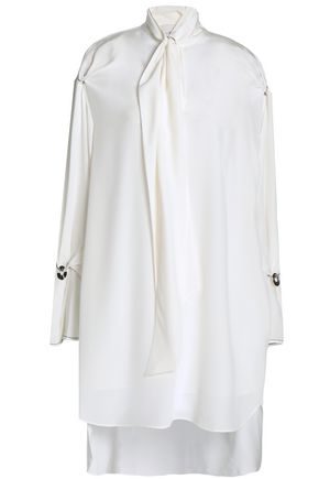 Draped Silk Crepe De Chine Mini Shirtdress by 3.1 Phillip Lim