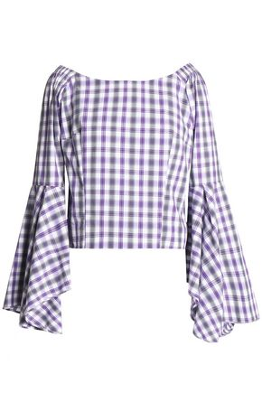 PETERSYN Checked cotton-poplin top