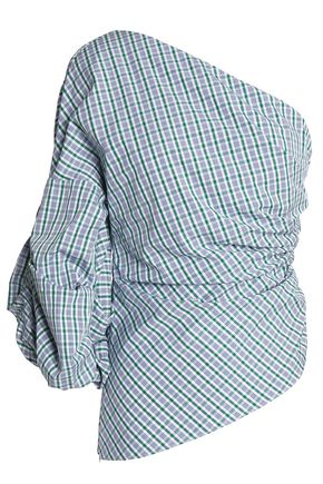 PETERSYN One-shoulder ruched checked cotton-poplin top